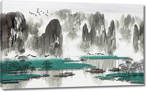 Зеленые острова на горном озере