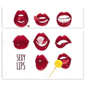 Набор женских губ сексуальная поп-арт красный