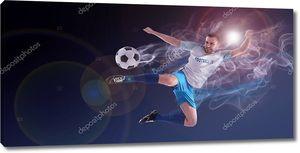 Выстрел футболиста в действии. Творческий баннер