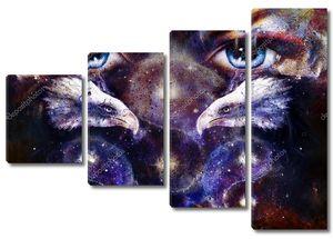 Орел, глаза женщины и символ Инь-Ян в пространстве со звездами
