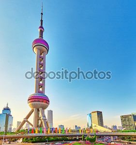SHANGHAI-MAY 25, 2015. Oriental Pearl Tower on blue sky backgro