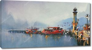 Рыбацкие лодки в гавани утром