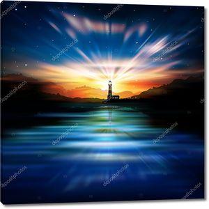 Абстрактный фон с маяком