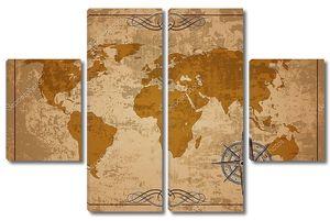 Старая карта. Вектор текстуры бумаги