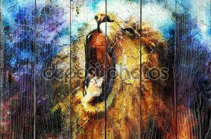 картина могучий рев льва, переживших абстрактный узор пустыни, pc коллаж