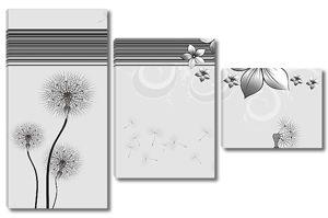 Черно-белый цветочный минимализм