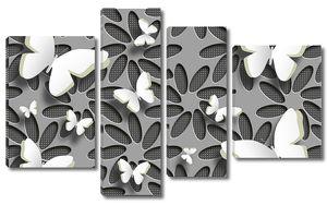 Бабочки и абстрактные цветы