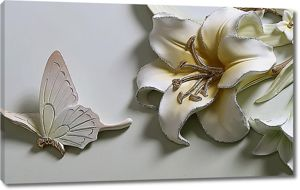 Лилия и бабочка из глины