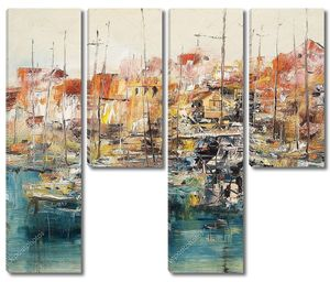 лодки в гавани, смешанная техника живописи маслом
