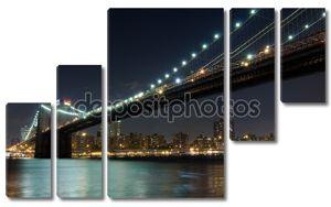 Бруклинский мост ночью, Нью-Йорк