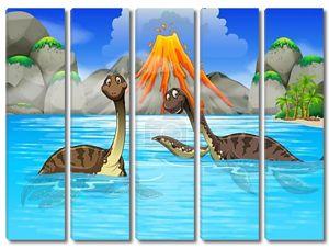 Динозавры, купание в озере