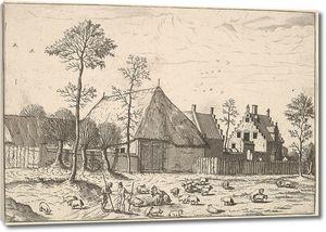 Брейгель. Гравюра. Вид дома с сараем и стадом с пастухом (офорт)