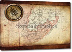 Винтаж старая карта с компасом