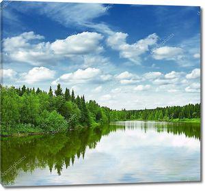 Лесное чистое озеро
