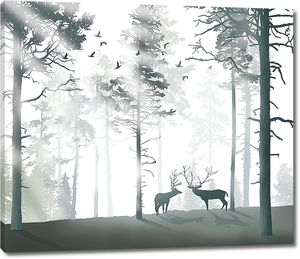 Рогатые олени в лесу