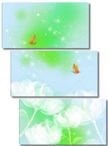 Белые сказочные цветы, две оранжевые бабочки