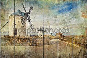 Ветряные мельницы в Испании - картина в стиле живописи