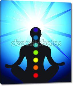 Мужской силуэт медитации чакры