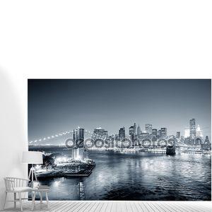Города Нью-Йорка Манхэттен центре черный и белый