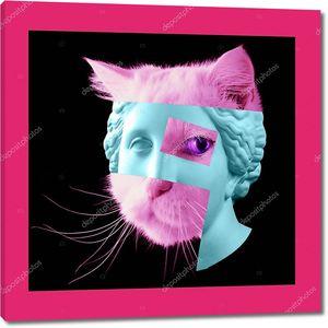 Плакат современного искусства с древней статуей головы Венеры и деталями лица живой кошки .
