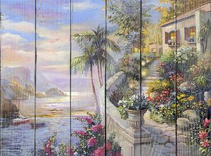 Живописная терраса с множеством цветов