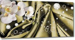 Пузыри, стразы и орхидеи на шелковой ткани