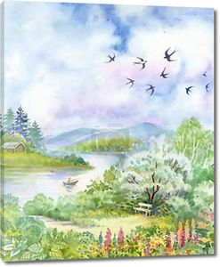 Весенний пейзаж с ласточки