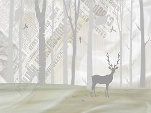 Олень и контуры деревьев на фоне с надписями