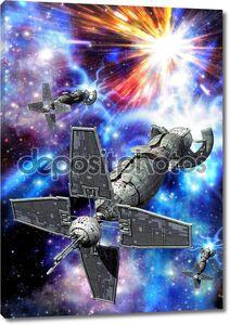 Космический корабль в полете