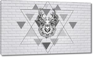 Голова оленя из кирпичной стены