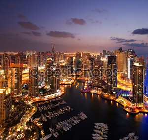 вид гавани Дубая, в сумерках, также показаны jbh
