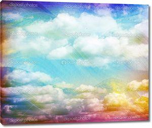 Голубой акварелью облака и небо. Весна, лето backgroud.