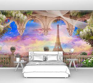 Вид с балкона на Эйфелеву башню и розовый закат