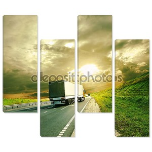 грузовики под красочные небо