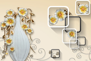 Цветы в вазе с квадратами рядом