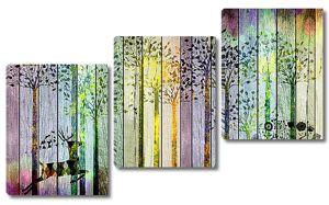 Роспись забора деревьями и оленями