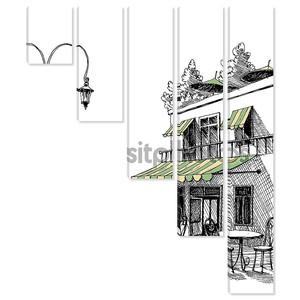 Просмотр улиц ретро город ресторан с террасой, Векторный рисунок