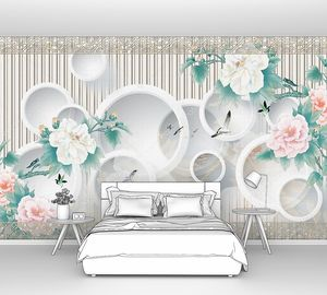 Орнамент, белые кольца, большие белые и розовые цветы