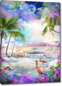 Вид на море из цветника орхидей и пальм