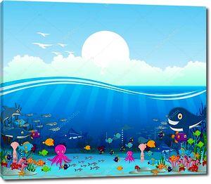 Морской жизни мультфильм фон