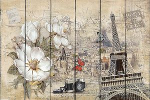 Фреска с цветами и Эйфелевой башней