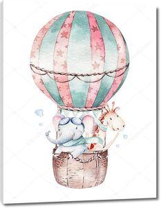 Воздушный шар со слоненком и жирафом