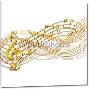 Музыкальные ноты персонала на белом фоне.