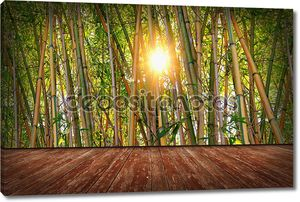 room with bamboo wallpaper