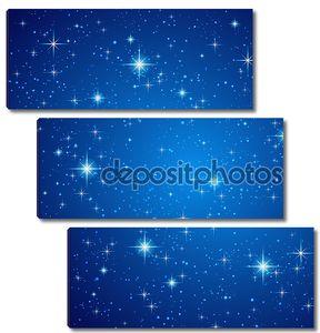 Голубое ночное небо с звездами. Вектор