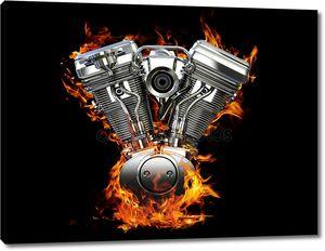 Двигатель хромированные мотоцикла на огонь