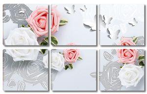 Розы с бумажными бабочками