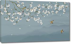 Ветки сакуры на волнистом фоне