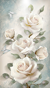Вертикальная веточка роз