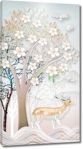 Цветущее дерево с оленем